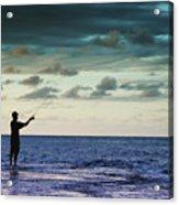 Fishing At Dusk Acrylic Print