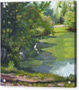 Fishing At Glen Rock Pond Acrylic Print