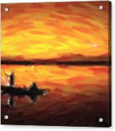 Fishing At Golden Hours Acrylic Print