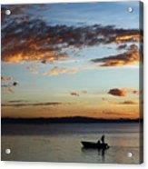Fishing At Sunset On Lake Titicaca Acrylic Print