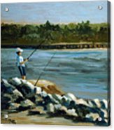 Fishing At The Point Acrylic Print