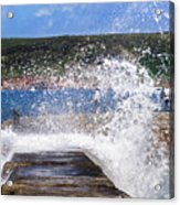 Fishing Beyond The Surf Acrylic Print by Terri Waters