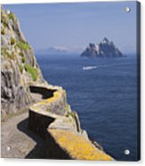 Fishing Boat Approaching Skellig Michael, County Kerry, In Spring Sunshine, Ireland Acrylic Print
