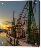 Fishing Boat At Sunset Acrylic Print