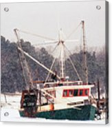 Fishing Boat Emma Rose In Winter Cape Cod Acrylic Print