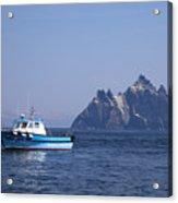 Fishing Boat Near Little Skellig, County Kerry, In Spring Sunshine, Ireland Acrylic Print