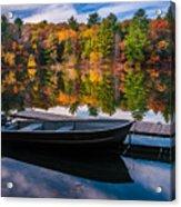 Fishing Boat On Mirror Lake Acrylic Print