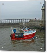 Fishing Boat Wy110 Emulater - Entering Whitby Harbour Acrylic Print