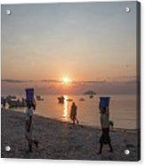 Fishing Boats And The Informal Market - Senga Bay Lake Malawi Acrylic Print