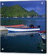 Fishing Boats At Sunrise- St Lucia Acrylic Print