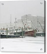 Fishing Boats During Winter Storm Sandwich Cape Cod Acrylic Print