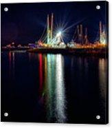 Fishing Boats In Marina At Night Acrylic Print