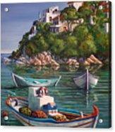 Fishing Boats In Skiathos Old Port Acrylic Print