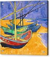 Fishing Boats on the Beach at Saintes Maries de la Mer Acrylic Print