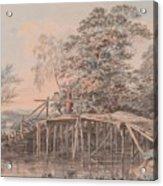 Fishing By A Footbridge Acrylic Print