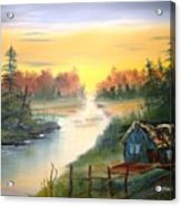 Fishing Cabin At Sunrise Acrylic Print