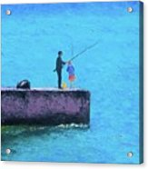 Fishing From The Pier Acrylic Print