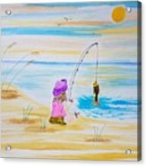 Fishing Girl Acrylic Print
