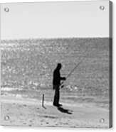 Fishing In Black And White Acrylic Print