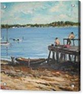 Fishing Off The Docks At Point Judith R.i. Acrylic Print