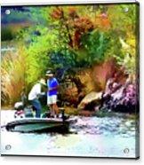 Fishing On Saguaro Lake In Arizona Acrylic Print