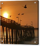 Fishing Pier At Sunrise Acrylic Print by Steven Ainsworth