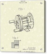 Fishing Reel 1937 Patent Art Acrylic Print by Prior Art Design