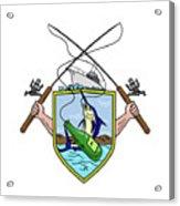 Fishing Rod Reel Blue Marlin Beer Bottle Coat Of Arms Drawing Acrylic Print