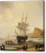 Fishing Scene, Teignmouth Beach And The Ness, 1831 Acrylic Print