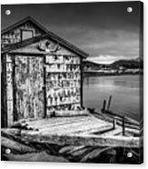 Fishing Shack And Wharf In Norris Point, Newfoundland Acrylic Print
