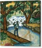 Fishing The Sunny River Acrylic Print