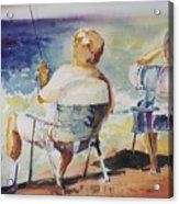 Fishing Together Acrylic Print