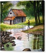 Fishing Upstream Acrylic Print