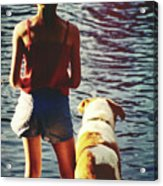 Fishing With The Pup Acrylic Print