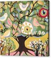 Five Birds In Garden Tree Acrylic Print