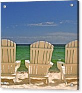 Five Chairs On The Beach Acrylic Print