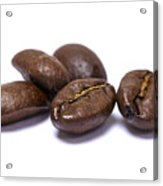 Five Coffee Beans Isolated On White Acrylic Print