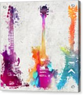 Five Colored Guitars Acrylic Print
