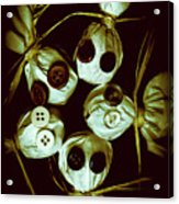 Five Halloween Dolls With Button Eyes Acrylic Print