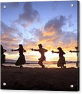 Five Hula Dancers At Sunset At The Beach At Palauea Acrylic Print by David Olsen