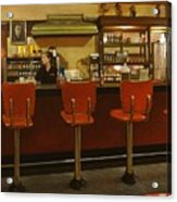 Five Past Six At The Mecca Cafe Acrylic Print by Doug Strickland
