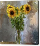 Five Sunflowers Centered Acrylic Print by Lois Bryan