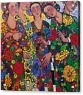 Five Women And The Iris Acrylic Print