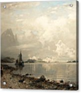 Fjord Landscape With Figures Acrylic Print