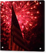 Flag And Fireworks Acrylic Print