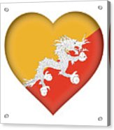 Flag Of Bhutan Heart Acrylic Print