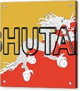 Flag Of Bhutan Word Acrylic Print
