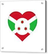 Flag Of Burundi Heart Acrylic Print