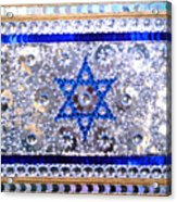 Flag Of Israel. Bead Embroidery With Crystals Acrylic Print