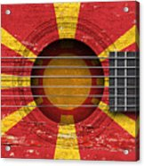 Flag Of Macedonia On An Old Vintage Acoustic Guitar Acrylic Print